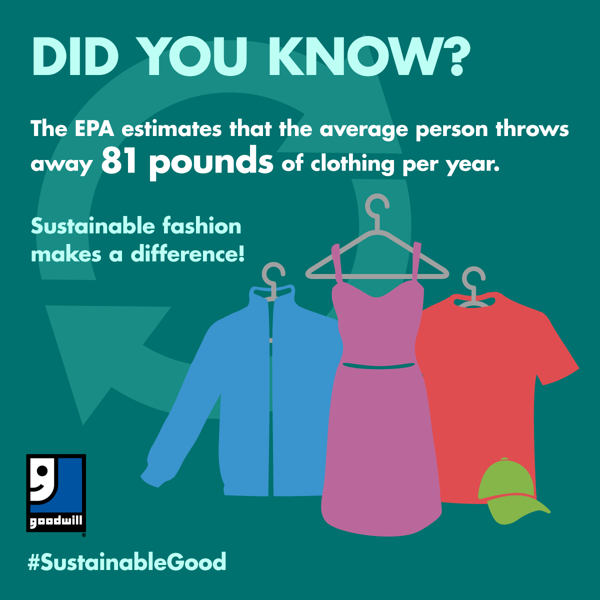 Did you know? The EPA estimates the average person throws away 81 pounds of clothing per year. Sustainable fashion makes a difference!